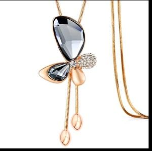 Jewelry - Long Chain Necklace Rose Gold Butterfly